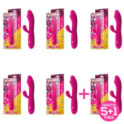 Pack 5+1 Candy Fucshia Vibrator USB Silicone