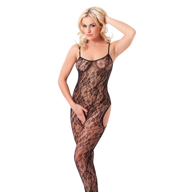Rimba Amorable Floral Open Catsuit Black One Size