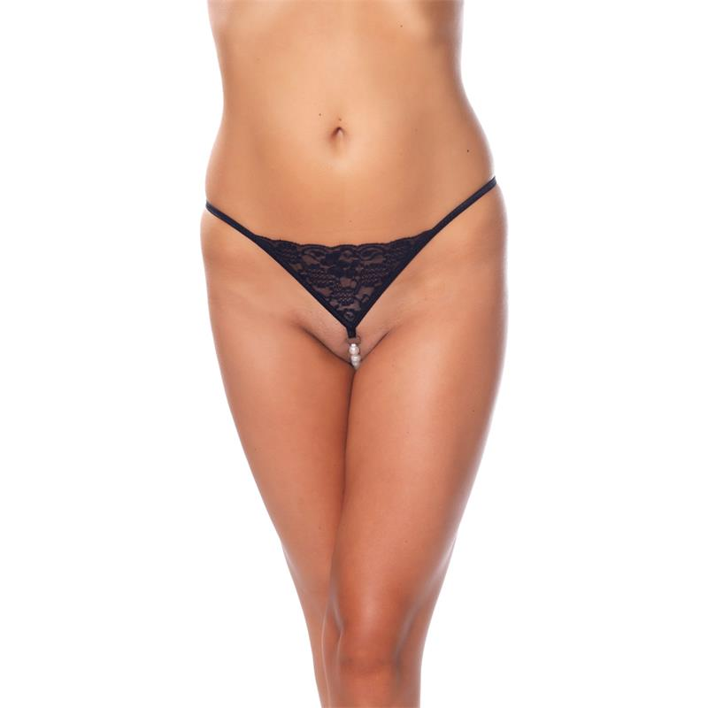 Rimba Amorable G-String with Pearls Black One Size