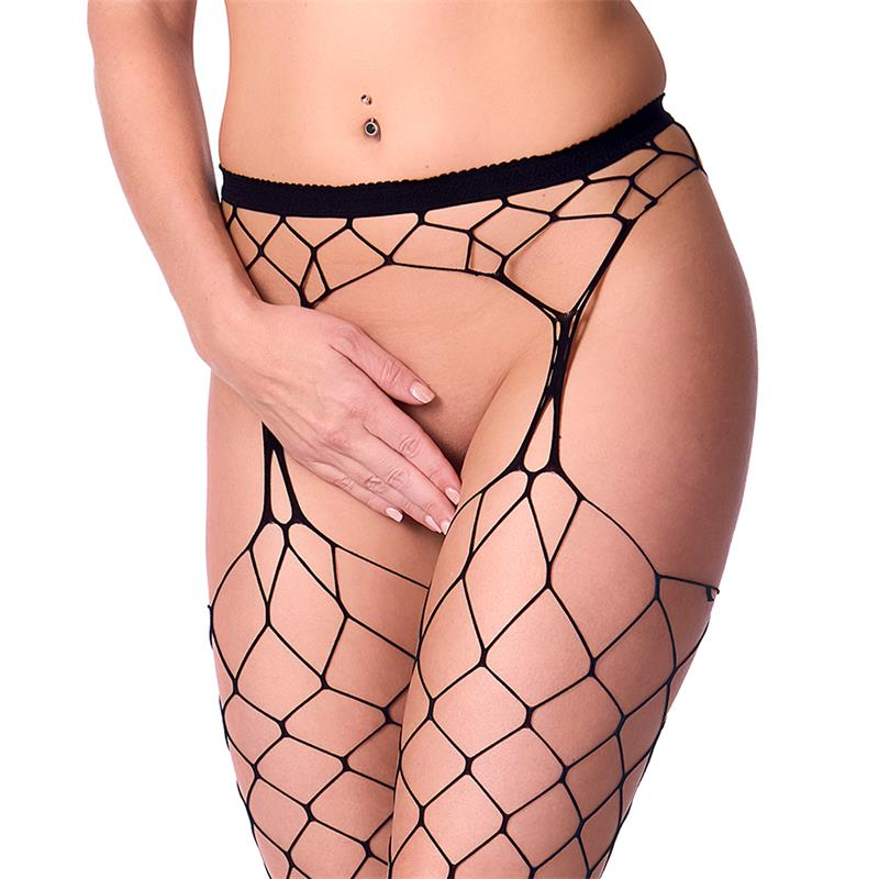 Rimba Amorable Fishnet Suspender Tight Black One Size