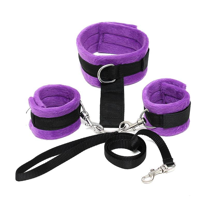 Handcuffs to Collar with Leash Adjustable and Detachable Purple