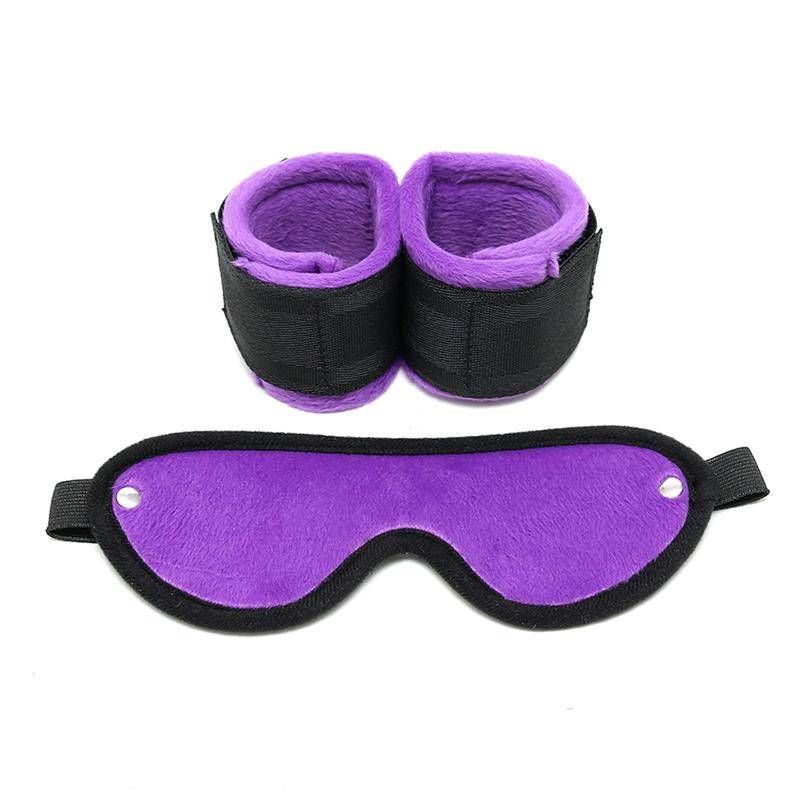 Rimba Bondage Play Handcuffs with Mask Adjustable Purple