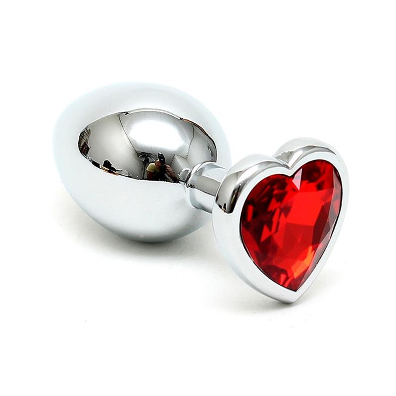 Butt Plug Plated Steel Crystal Heart Red