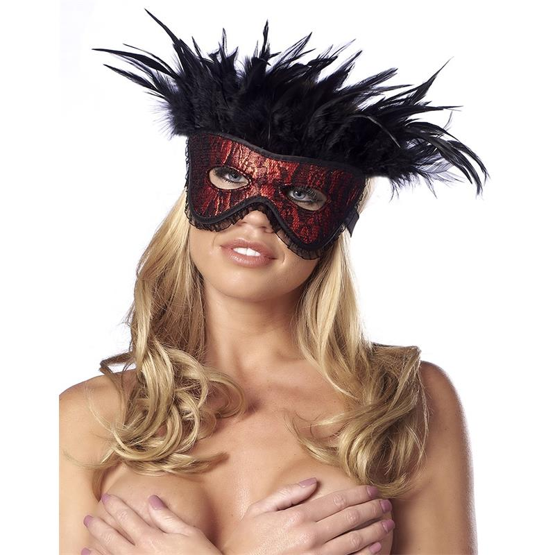 Luxury Mask with Feathers Red