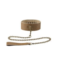 Collar With Leash - Brown
