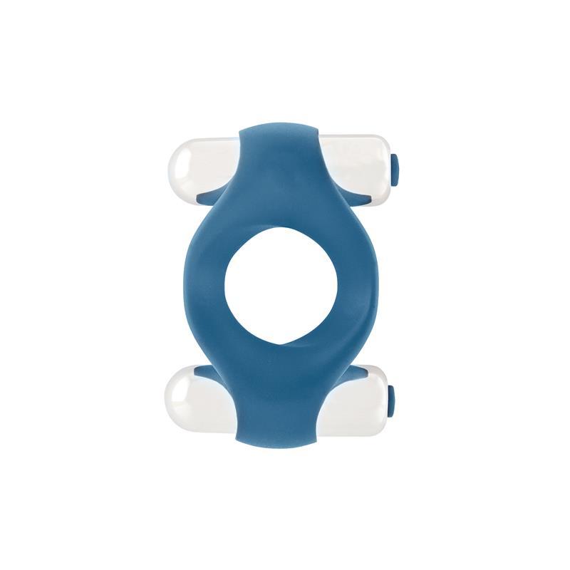 Shots Mjuze Doble Anillo Vibrador para el Pene Azul de MJUZE #satisfactoys