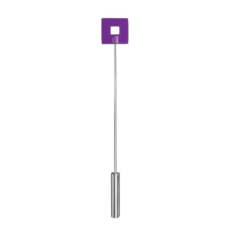 Shots Ouch! Whips and Paddles Leather Square Tipped Crop Purple