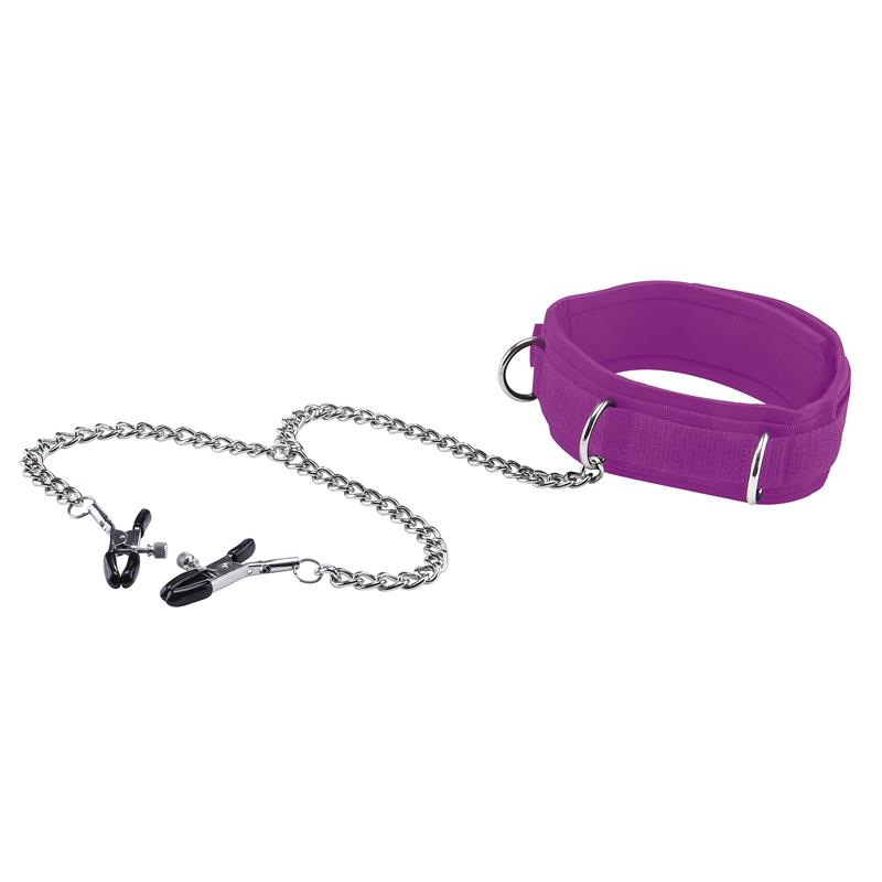 Shots Ouch! Velcro Collar with Nipples Clamps and Chain Purple