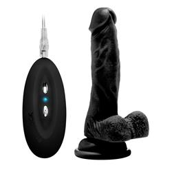 "Vibrating Realistic Cock - 7"" - With Scrotum - Bla"