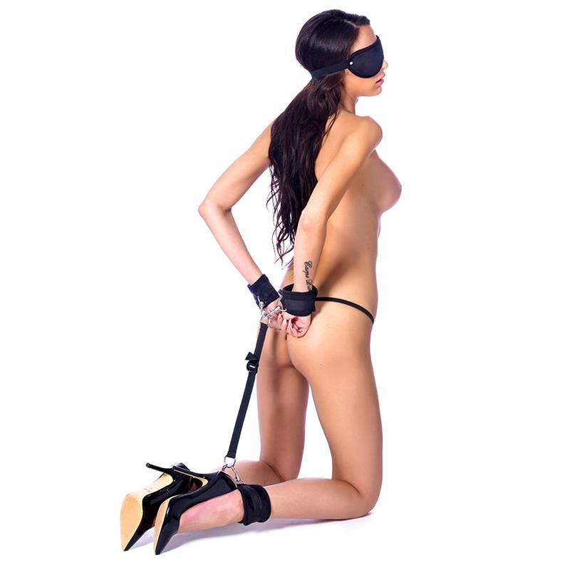 Hand to Ankle Cuffs with Mask Adjustable Black