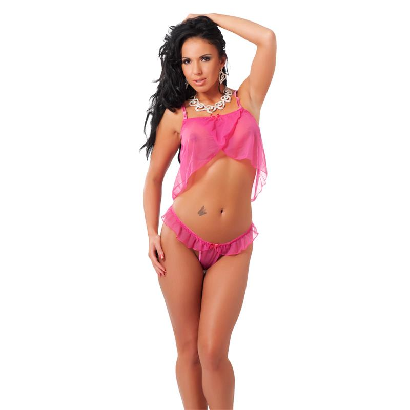Rimba Amorable Mini Babydoll y Tanga con Volantes Color Rosa Talla Única de AMORABLE #satisfactoys