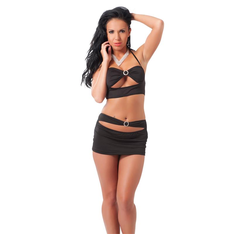 Rimba Amorable Conjunto de Top y Falda Color Negro Talla Única de AMORABLE #satisfactoys