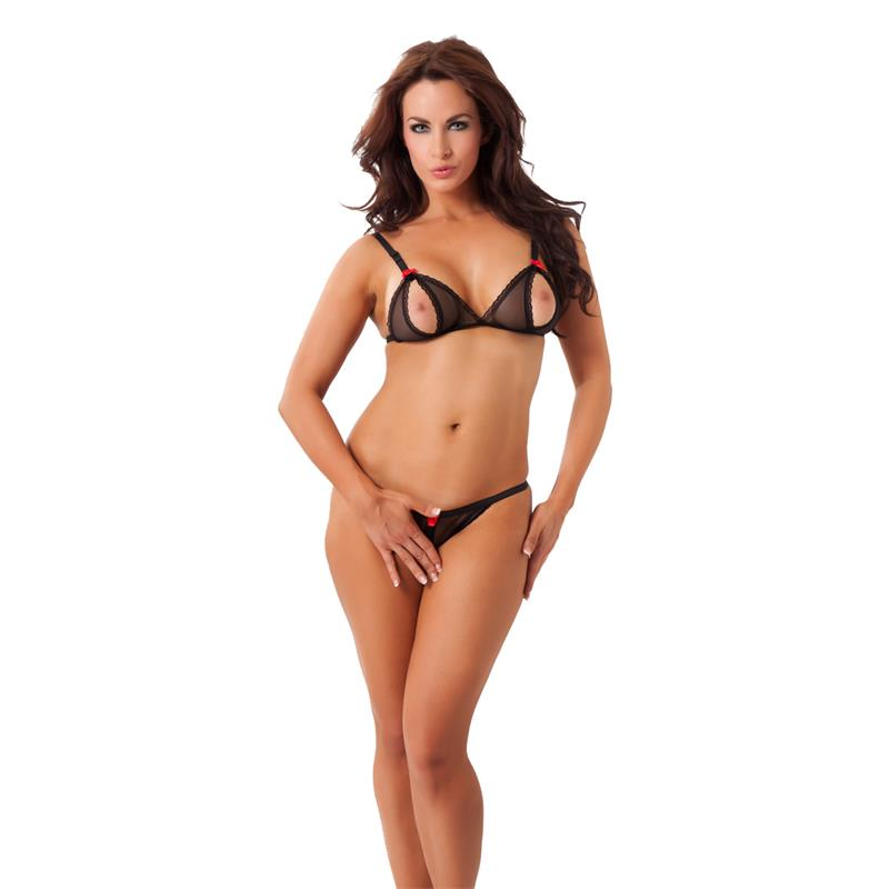 Rimba Amorable Open Bra and Briefs Black One Size
