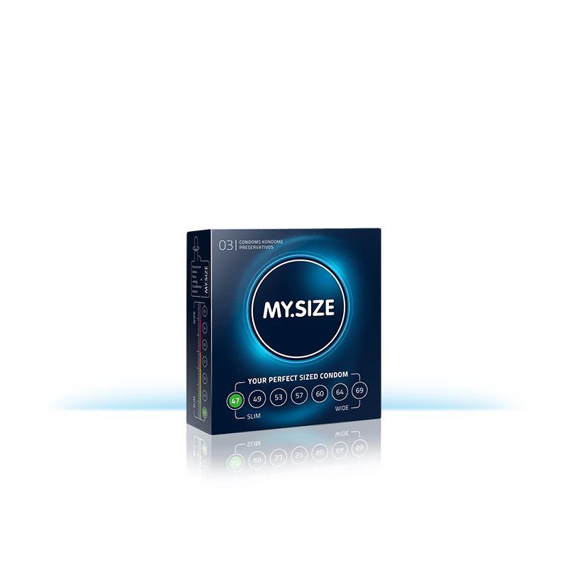 My Size přírodní latex kondomy velikosti 47 Box 3 jednotek