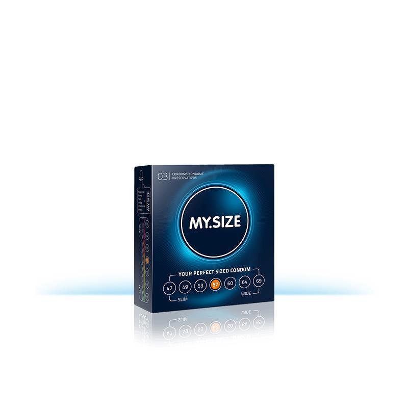 My Size přírodní latex kondomy velikosti 57 Box 3 jednotek