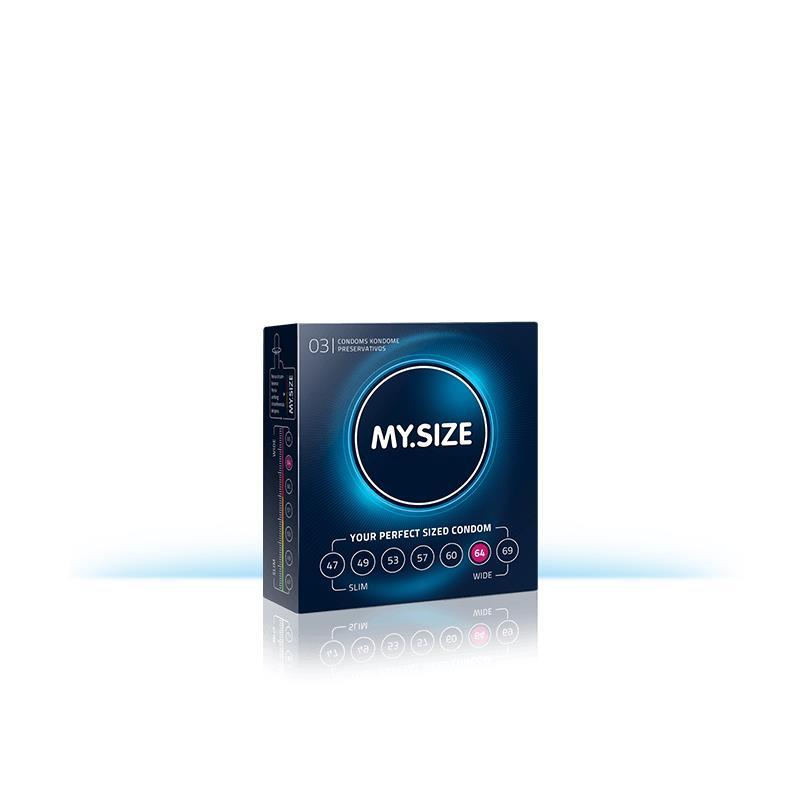 My Size přírodní latex kondomy Velikost 64 Box 3 jednotek