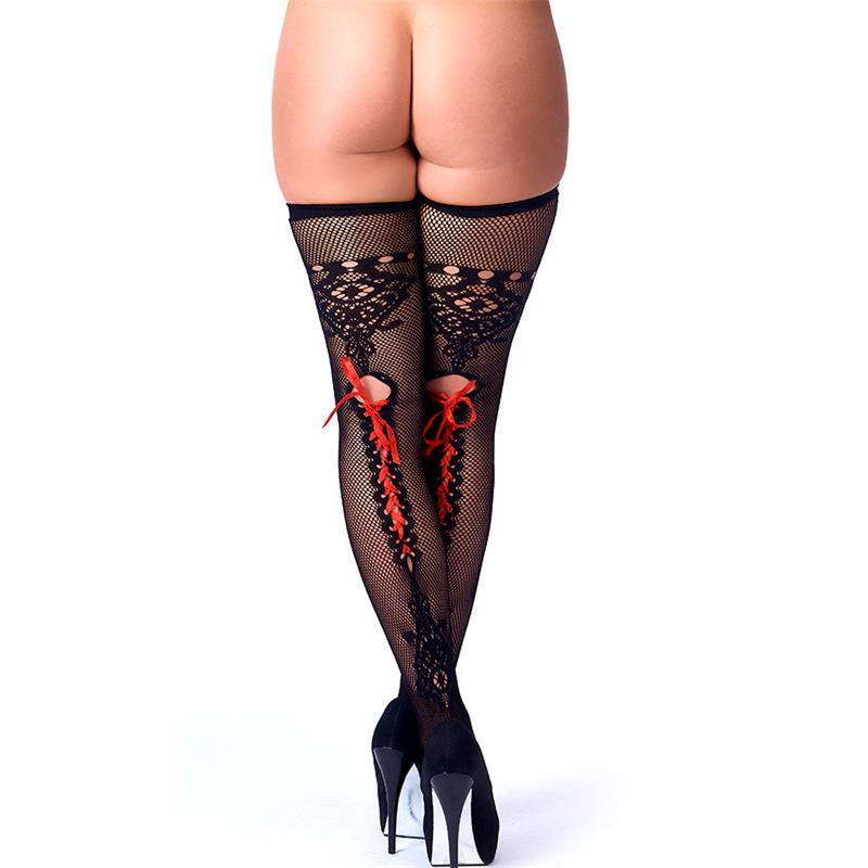 Rimba Amorable Stockings with Red Lace Black One Size