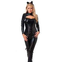 Wetlook catsuit with long zipper and hair piece-OS