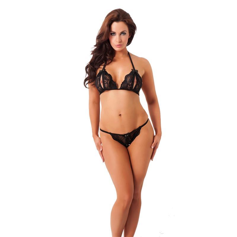 Rimba Amorable Bikini Abierto más Tanga Color Negro Talla Única de AMORABLE #satisfactoys