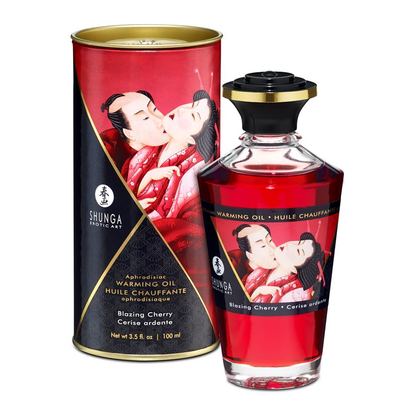Shunga Warming Massage Oil Blazing Cherry Aroma