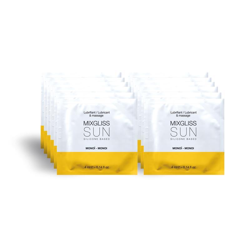 Mixgliss Pack de 12 Monodosis Lubricante de Silicona Aroma a Monoi SUN 4 ml de MIXGLISS #satisfactoys
