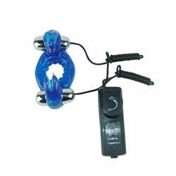 Rabbit cock ring with double vibrators, pvc materi