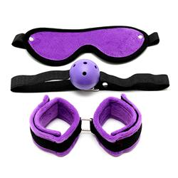 Soft mask, soft handcuffs and mouth gag-Adjustable
