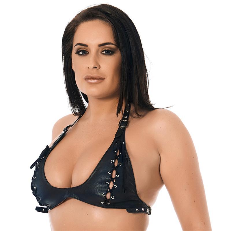 Rimba Bondage Play Leather Bra with Laces Adjustable