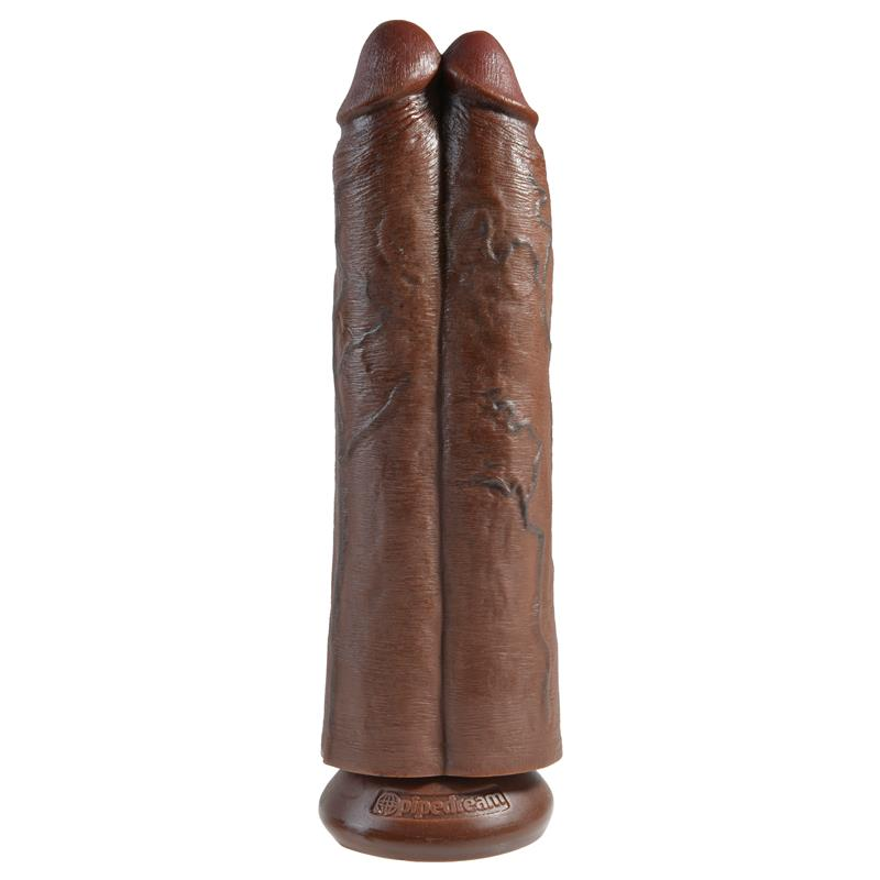Double Dildo Two Cocks One Hole 11 Brown