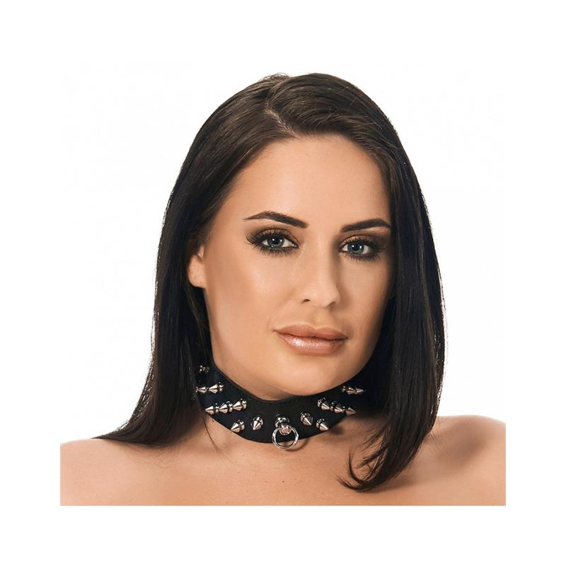 Collar Cuero con Pinchos de BONDAGE PLAY #satisfactoys