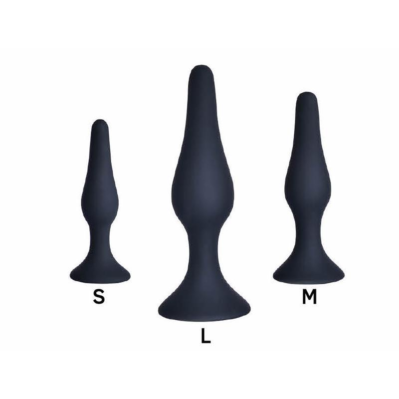 Pack de 3 Plug Anal Silicona Negro de OHH TOYS