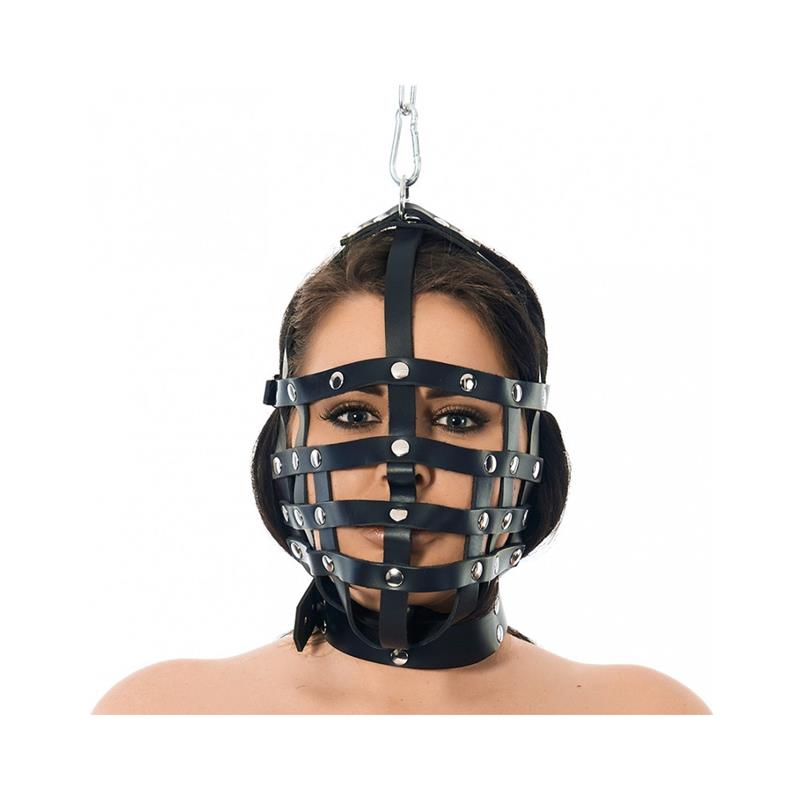 Máscara Cuero con Forma de Bozal Ajustable de BONDAGE PLAY #satisfactoys