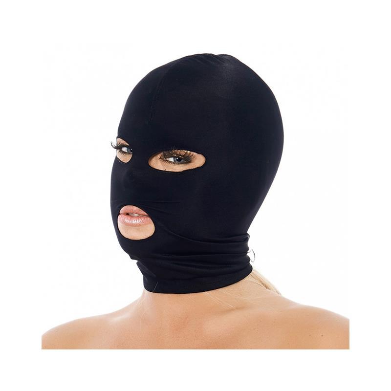 Máscara con Abertura Boca y Ojos Negro de BONDAGE PLAY #satisfactoys