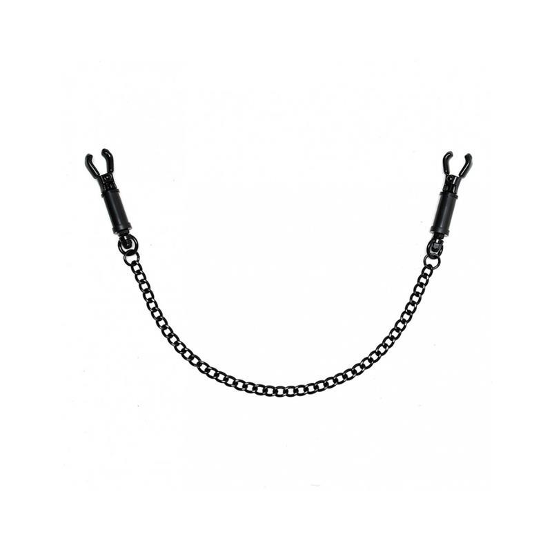 Pinzas para Pezones con Cadena Ajustable Negro de BONDAGE PLAY #satisfactoys