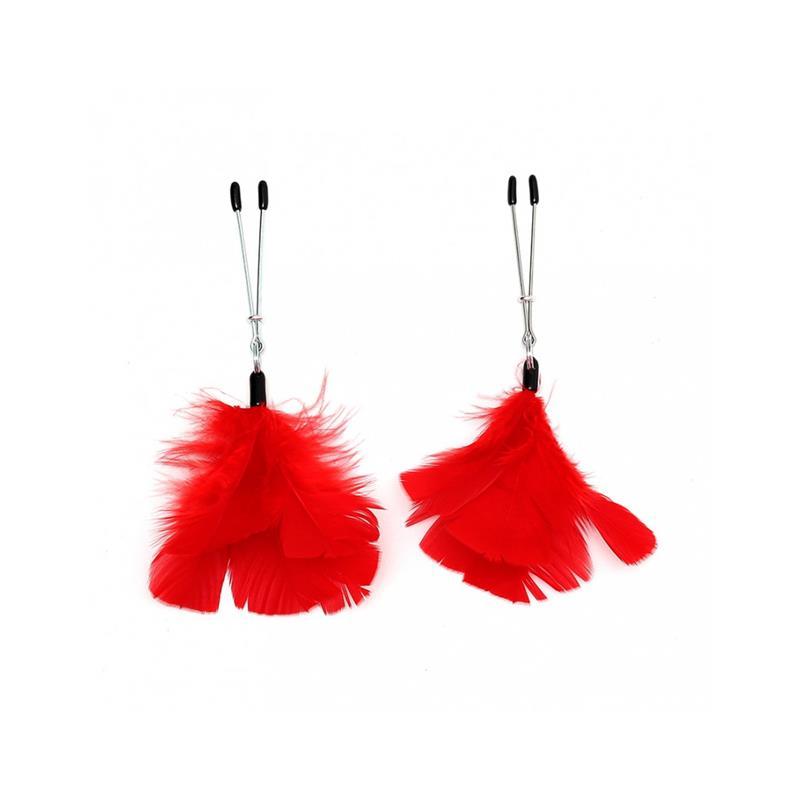 Pinzas para Pezones con Plumas Rojas Ajustables de BONDAGE PLAY #satisfactoys