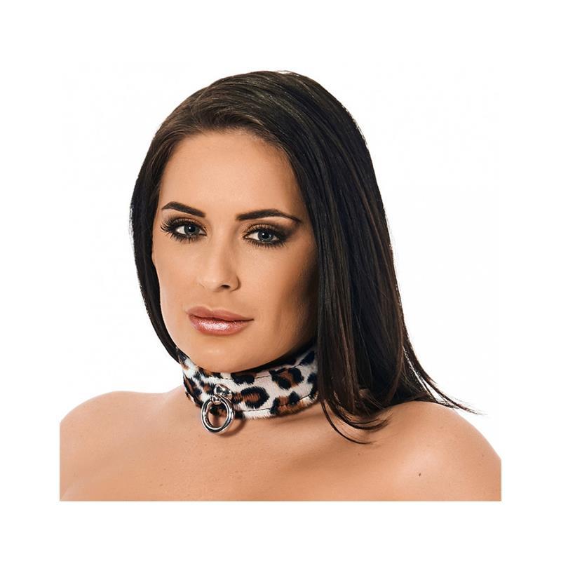 Collar de Cuero Leopardo Ajustable de BONDAGE PLAY #satisfactoys