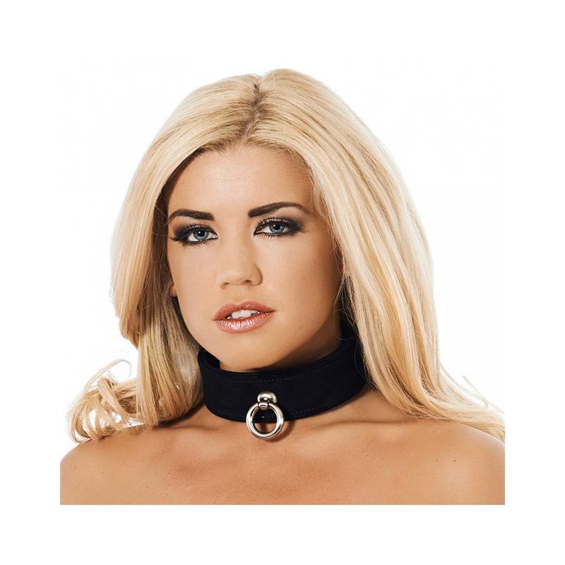 Collar de Cuero Negro Ajustable de BONDAGE PLAY #satisfactoys