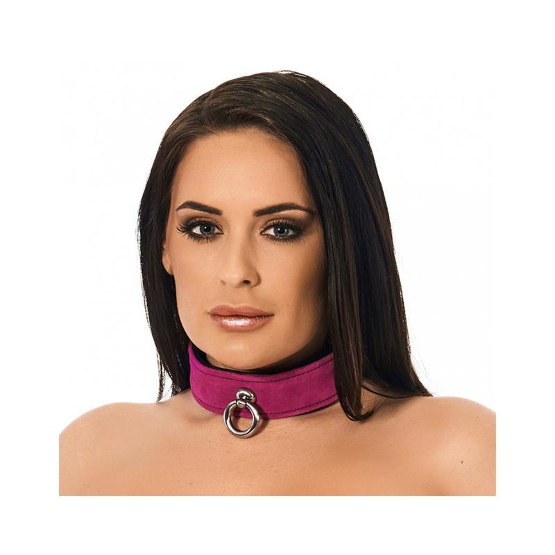 Collar de Cuero Rosa Ajustable de BONDAGE PLAY #satisfactoys