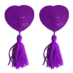 Nipple Tassels - Heart - Purple