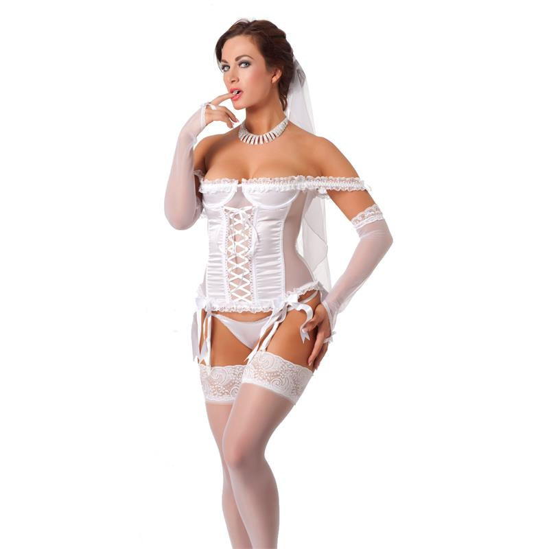 Rimba Amorable Wedding Basque Set White Velikost: S