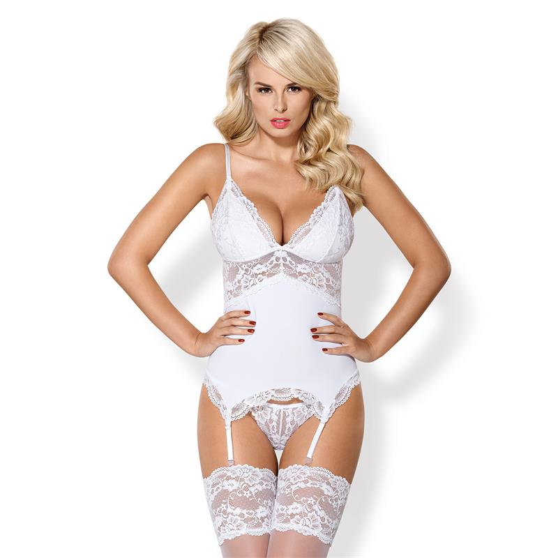 810-COR-2 Corset and Thong White Velikost: S/M