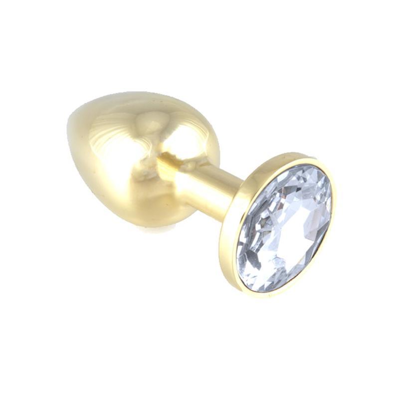 Plug Anal Acero Inoxidable Dorado - Transparente de BONDAGE PLAY #satisfactoys