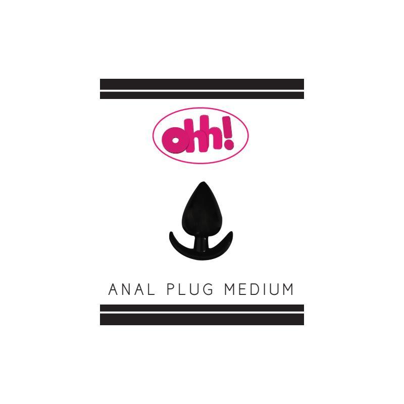 Plug Anal Mediano Color Negro de OHH TOYS #satisfactoys