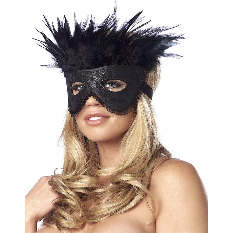 Luxury Mask with Feathers Black