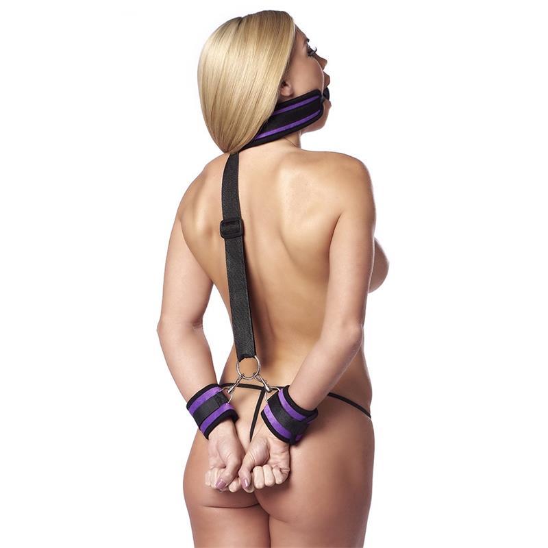 Set Mouthgag with Cuffs Purple