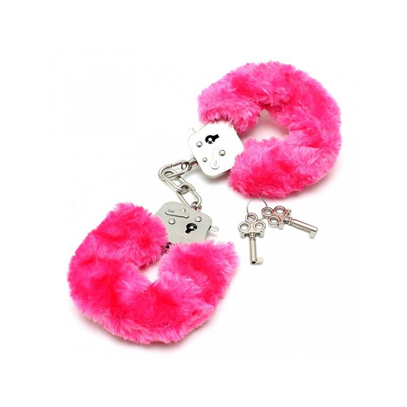 Police cuffs with Pink Fur-Adjustable