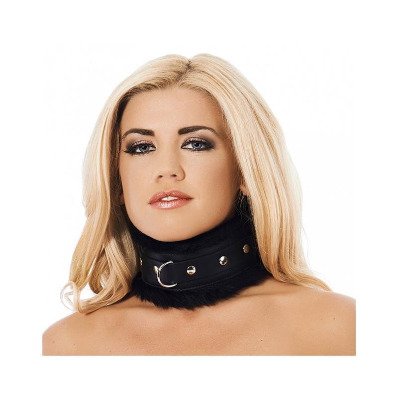 Collar Ancho Cuero y Pelo Artificial Negro de BONDAGE PLAY #satisfactoys