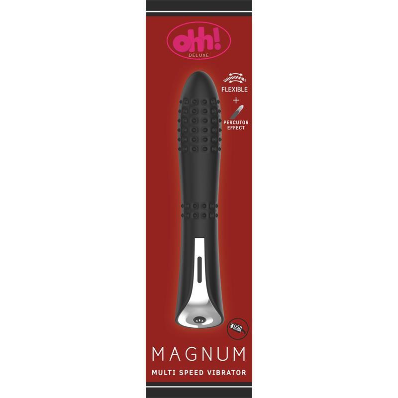 Vibrador con Efecto Percutor Magnum Silicona 22 x 4.6 cm Negro de OHH TOYS DELUXE #satisfactoys