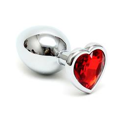 Butt plug with red heart shape cristal