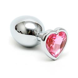 Butt plug with purple heart shape cristal